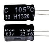خازن الکترولیتی 22 میکروفاراد 63 ولت Nichicon
