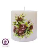 شمع تزئینی استوانه ای چاپی مدل گل رز